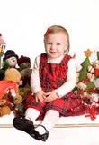 lilla toys för julflicka arkivfoton