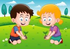 Lilla ungar planterar den små växten i trädgård Royaltyfri Bild