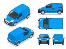 Lilla Van Car bil mall för bilen som brännmärker och annonserar Framdel-, baksida-, för sida, bästa och isometry framdel och vektor illustrationer