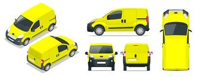 Lilla Van Car bil mall för bilen som brännmärker och annonserar Framdel-, baksida-, för sida, bästa och isometry framdel och stock illustrationer