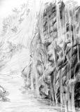 lilla vattenfall för berg Arkivfoto