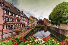 Lilla Venedig, liten och nätt Venise, i Colmar, Alsace, Frankrike Royaltyfri Bild
