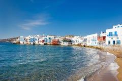 Lilla Venedig på den Mykonos ön, Grekland Arkivfoton