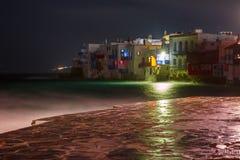 Lilla Venedig på natten på ön Mykonos, Grekland Royaltyfri Fotografi