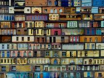 Lilla Windows, balkonger, ställer ut, fjärden Windows, bakgrunder, abstraktioner royaltyfria foton