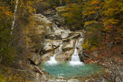 Lillaz Waterfall in autumn Stock Photo