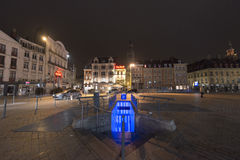 Lille central square at night Stock Photos