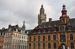 Lille, France. Grande place square facades Stock Photography