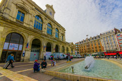 Lille, France - June 3, 2015: Gare De Lille Flandres, main train station of city, old beautiful yellow concrete building Stock Images