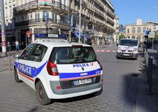 Police cars blocking the road in Lille, France stock images