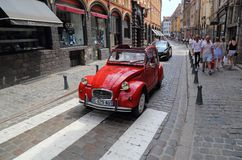 Old red Citroen car in Lille, France Stock Image