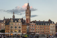 Lille historic city center at sunset Stock Photos