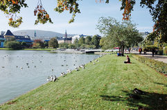 Lille Lungegardsvann, BERGEN, NORGE Fotografering för Bildbyråer