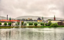 Lille Lungegardsvannet lake in the city centre of Bergen Royalty Free Stock Photography