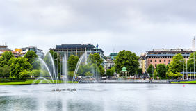 Lille Lungegardsvannet lake in the city centre of Bergen Royalty Free Stock Photo