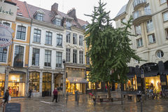 Lille shopping street at dusk Royalty Free Stock Photo