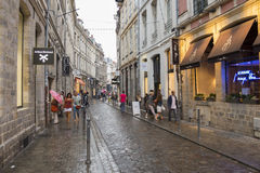 Lille shopping street at dusk Royalty Free Stock Photography
