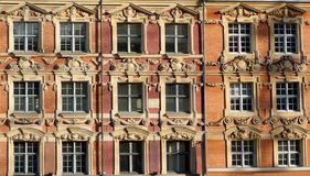 Lille Windows. Building in Lille France bathed in winter sunshine Stock Image