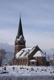 Lillehammer Church. Brick stone neogothic town church in winter. Olympic town Lillehammer, Norway Royalty Free Stock Photo