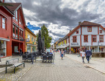 Lillehammer commercial shopping mall cityscape. LILLEHAMMER, NORWAY - AUGUST 01, 2016: Lillehammer commercial shopping mall cityscape. Lillehammer is the center Royalty Free Stock Photos