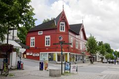 A beautiful wooden house in Lillehammer city. Lillehammer is a city in Norway. It is the center of winter sports. It hosted the 1994 Winter Olympics and will royalty free stock photo