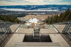 Lillehammer olympisch stadion in Noorwegen Panorama vanaf de bovenkant Royalty-vrije Stock Foto