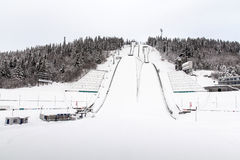 Lillehammer ski-jumping towers Royalty Free Stock Photography