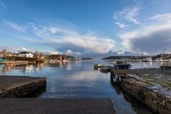 Lillesand, Norway - November 10, 2017: View of the harbour ocean and sky. Seen from Lillesand City. Stock Photography