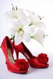 lillies红色鞋子 库存图片