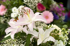 Lillies. Bouqet of lillies at a market stall stock images