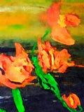 Lillies dell'acquerello su carta Fotografia Stock Libera da Diritti