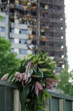 Lillies at Grenfell Tower disaster Stock Photos