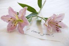 Lillies roses et un amour que vous notez Images stock