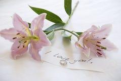 Lillies y amor Fotos de archivo