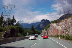 Lilloet高速公路的99,不列颠哥伦比亚省加拿大温哥华 免版税图库摄影