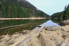 Lillooet See auf dem Fuß des Berges Stockbilder