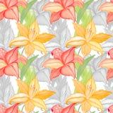Lilly blommar naturen och lämnar vattenfärgen sömlös modellbakgrund vektor illustrationer