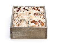 Lilly  bulbs in sawdust stored in  wooden box. Ready for planting. Lilly  bulbs in sawdust stored in wooden box. Ready for planting Royalty Free Stock Images
