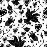 Lilly en de hart-Bloemen in naadloze Bloei herhalen patroonachtergrond in Zwart-wit vector illustratie