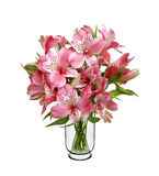 Lilly flower bouquet in vase Stock Photo