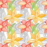 Lilly flowers nature and leaves watercolor seamless pattern background Royalty Free Stock Photo