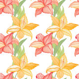 Lilly flowers nature and leaves watercolor seamless pattern background Stock Photo
