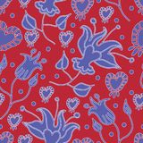 Lilly Garden-Flowers in Bloom seamless repeat pattern Background in Red and Blue vector illustration
