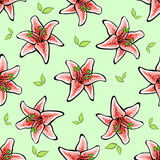 Lilly. Hand-drawn pattern made from red lilys and green leafs on the green background. Vector illustration Royalty Free Stock Photography