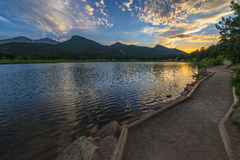 Lilly Lake at Sunset - Colorado Stock Photography