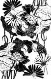 Lilly pad. Black and white floral stencil motiff hand-drawn line art design Stock Photo