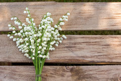 Lilly of the valley flowers on wooden background. Stock Photo