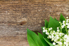 Lilly of valley on wood. Lilly of valley close up on wooden table with copy space Royalty Free Stock Photos