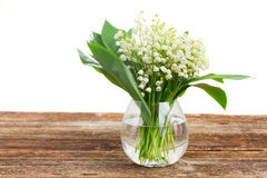 Lilly of valley on wood Stock Photo
