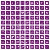 100 lilor för grunge för on-line seminariumsymboler fastställda Arkivbild